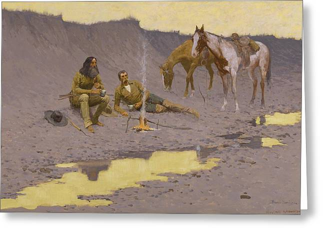 A New Year On The Cimarron Greeting Card by Frederic Remington