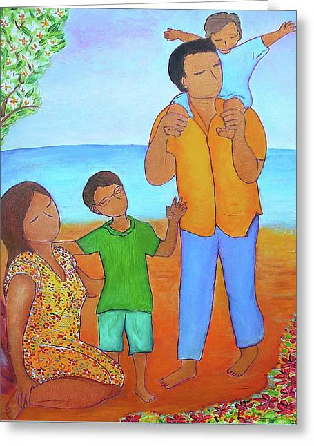 A Nice Family Of Four Greeting Card by Gioia Albano