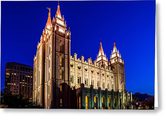 A Night At The Salt Lake Temple Greeting Card by TL  Mair