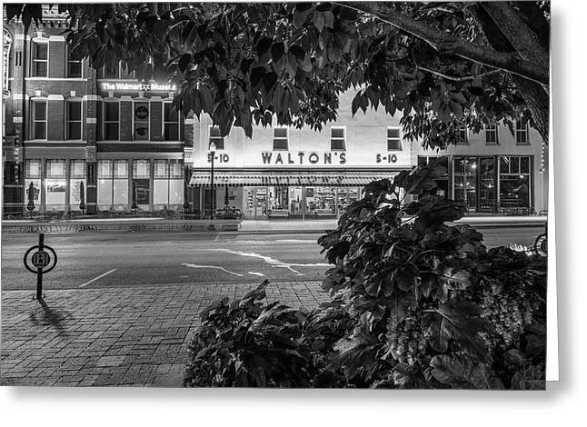 A Night On The Bentonville Arkansas Square Black White Greeting Card by Gregory Ballos