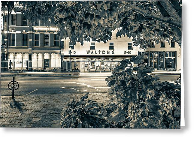 A Night On The Bentonville Arkansas Square Sepia Black White Greeting Card by Gregory Ballos