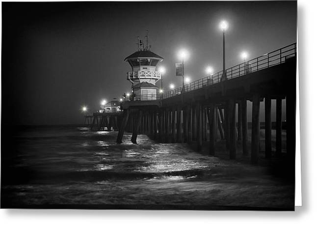 Winter Night Greeting Cards - A Night on the Pier Greeting Card by Mariola Bitner