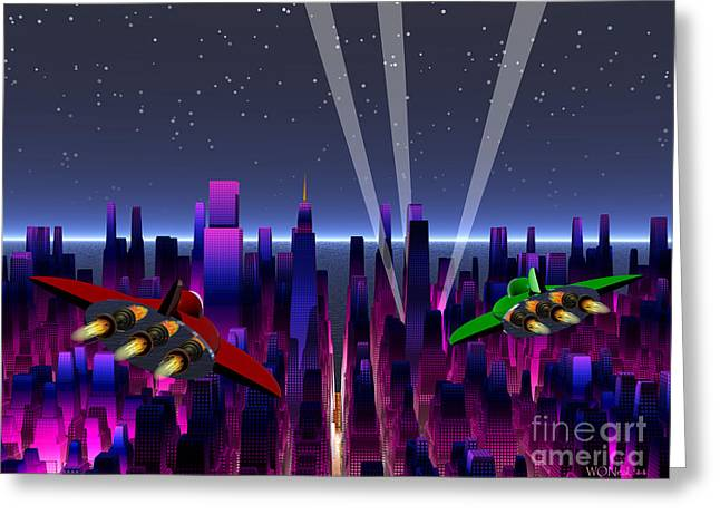 A Night On The Town Greeting Card by Walter Oliver Neal