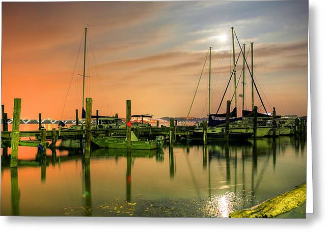 A Night Out At The Marina Greeting Card by JC Findley