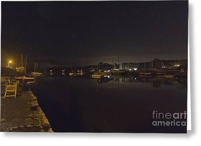 A Night View Of Mylor Creek Greeting Card by Terri Waters