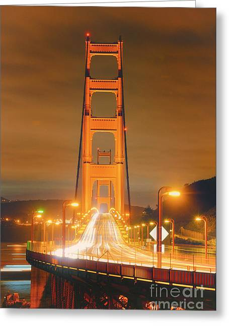 A Night View Of The Golden Gate Bridge From Vista Point In Marin County - Sausalito California Greeting Card by Silvio Ligutti