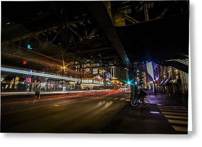 a nighttime look at Chicago's busy State and Lake Intersection Greeting Card