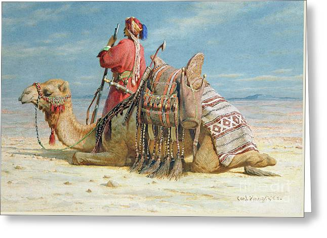 A Nomad And His Camel Resting In The Desert Greeting Card