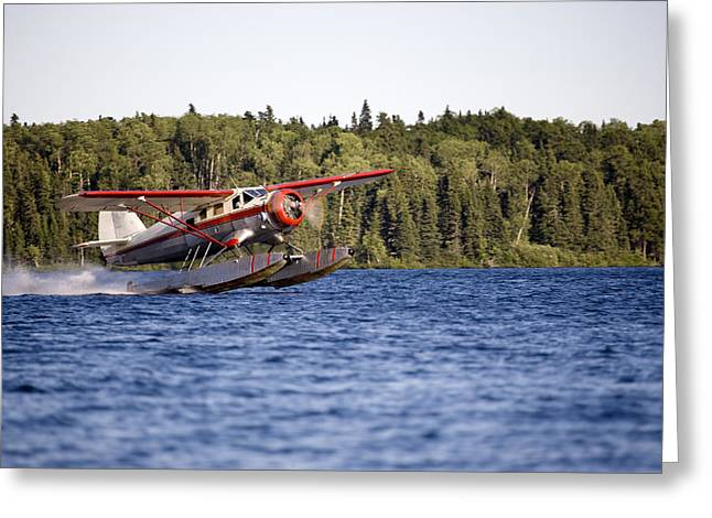 Propeller Greeting Cards - A Norseman Float Plane Takes Off Greeting Card by Pete Ryan