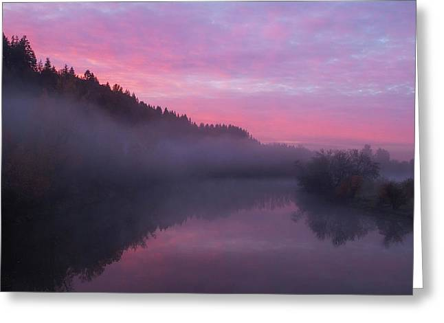 A November Sunrise Greeting Card by Angie Vogel
