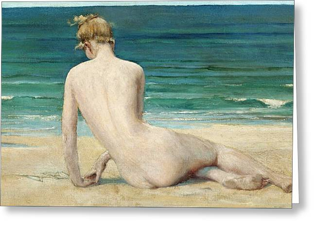 A Nude Seated On The Shore Greeting Card by John Reinhard Weguelin