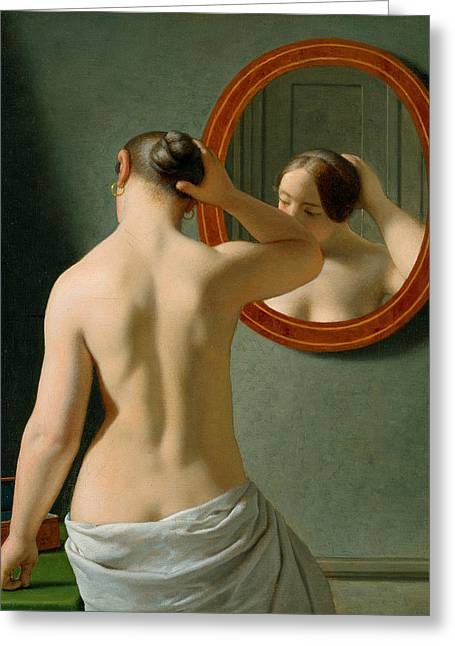 A Nude Woman Doing Her Hair Before A Mirror Greeting Card by Christoffer Wilhelm Eckersberg