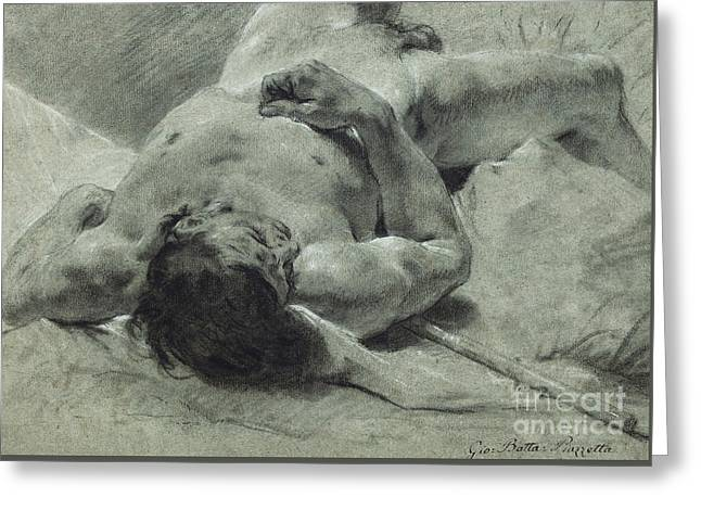 A Nude Youth Sprawled On His Back, Upon A Bank, Lying On A Standard Greeting Card by Giovanni Battista Piazzetta