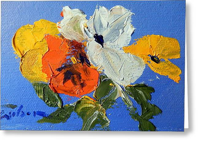 A Nudge Of Pansies Greeting Card by Ron Wilson