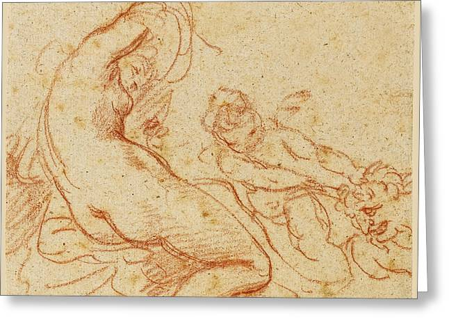 A  Nymph And A Cupid Dragging A Satyr Greeting Card
