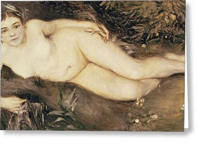 70 Greeting Cards - A Nymph by a Stream Greeting Card by Pierre Auguste Renoir