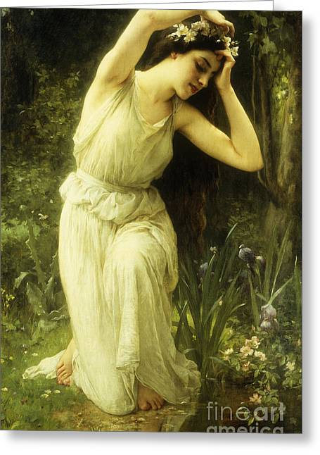 A Nymph In The Forest Greeting Card by Charles Amable Lenoir