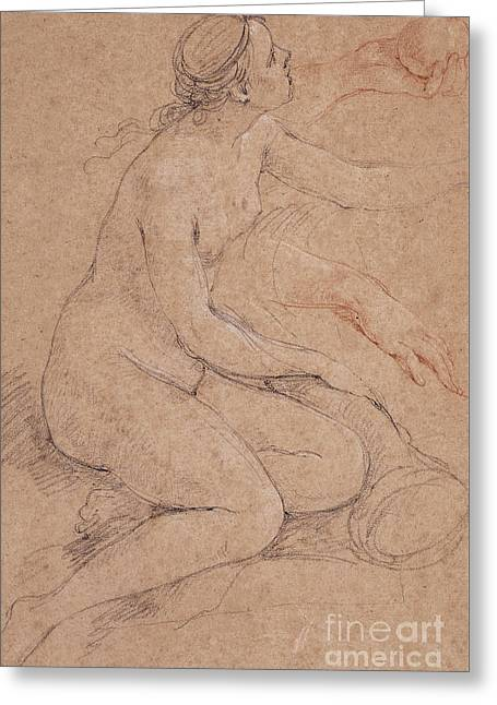 A Nymph Leaning On A Cornucopia, And Subsidiary Studies Of Her Hands, One Holding An Apple Greeting Card by Charles Joseph Natoire