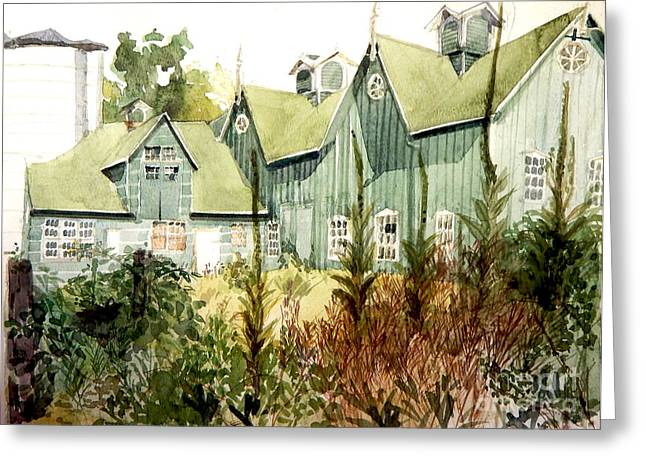 Watercolor Of An Old Wooden Barn Painted Green With Silo