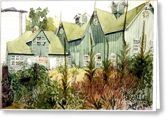 Watercolor Of An Old Wooden Barn Painted Green With Silo In The Sun Greeting Card