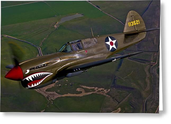 A P-40e Warhawk In Flight Greeting Card