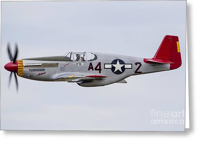 A P-51 Mustang Flies By At Eaa Greeting Card