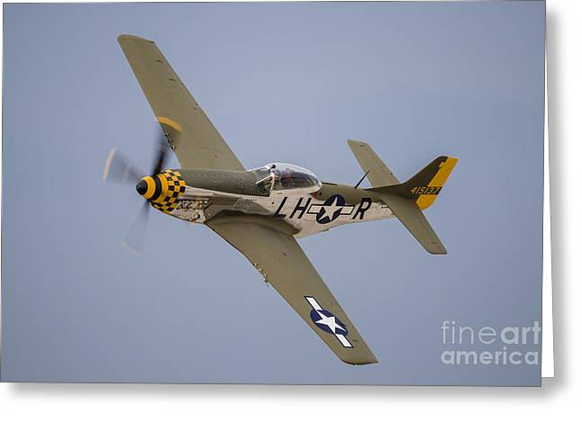 A P-51 Mustang Flies By At Waukegan Greeting Card by Rob Edgcumbe