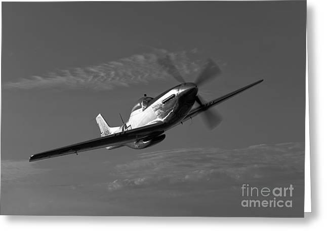 A P-51d Mustang In Flight Greeting Card by Scott Germain