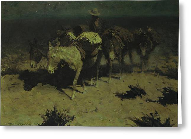 A Pack Train Greeting Card by Frederic Remington