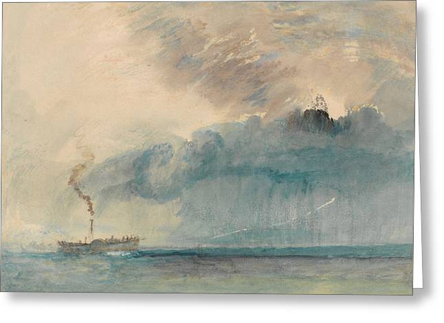 A Paddle-steamer In A Storm Greeting Card by Joseph Mallord William Turner