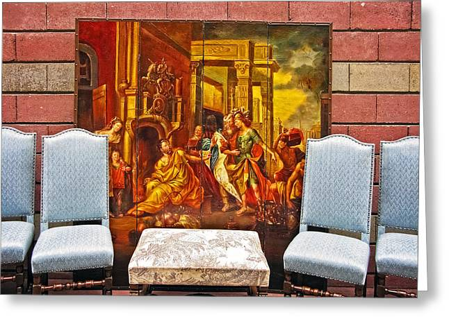 A Painting And 4 Chairs Greeting Card by David Thompson