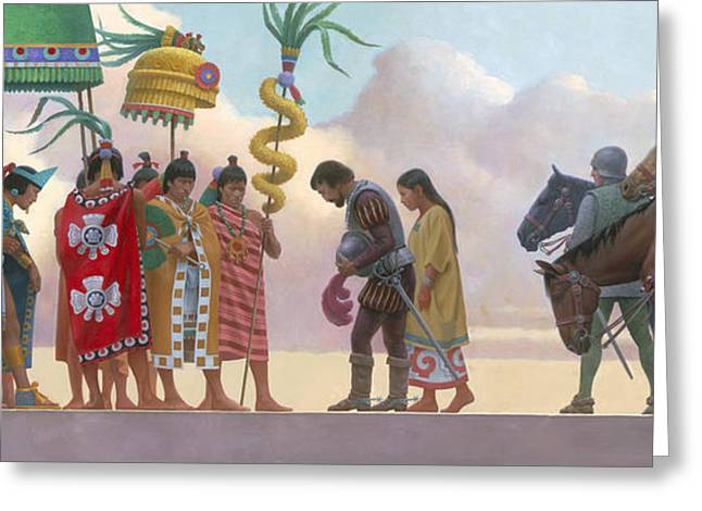 Ethnic And Tribal Peoples Greeting Cards - A Painting Of Aztec Ruler Moctezuma Ii Greeting Card by Ned M. Seidler