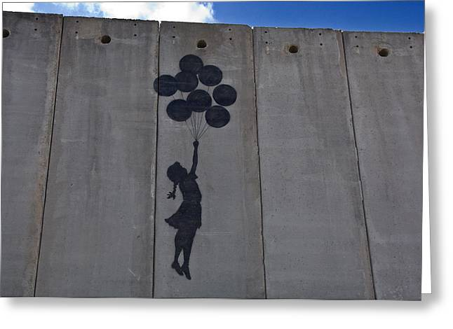 Best Sellers -  - Floating Girl Greeting Cards - A Painting On The Israeli Separartion Greeting Card by Keenpress