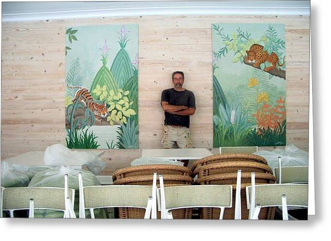 a pair of exotic murals  Pool House restaurant Greeting Card by Scott K Wimer