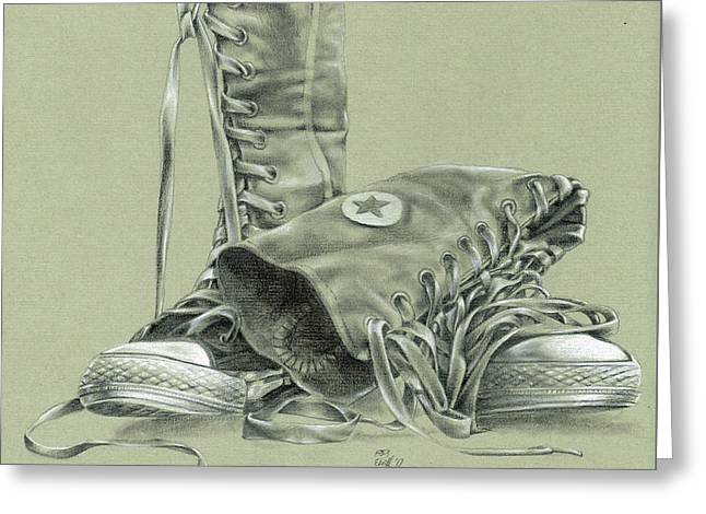 A Pair Of Fake Converse Boots Greeting Card
