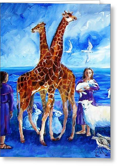 A Pair Of Giraffes Greeting Card by Trudi Doyle