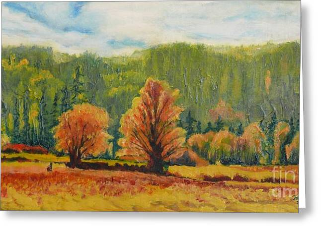 A Pair Of Golden Trees  Greeting Card by Terri Thompson