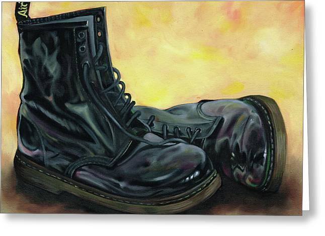 A Pair Of Patent Dr Martens 2 Greeting Card