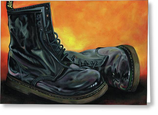 A Pair Of Patent Dr Martens Greeting Card