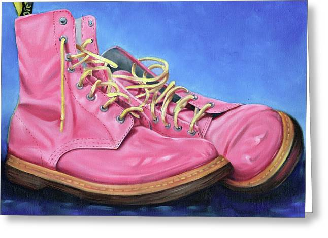 A Pair Of Pink Dr Martens Greeting Card