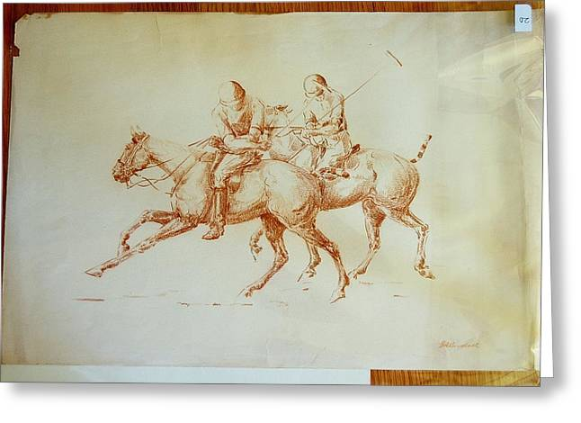 A Pair Of Polo Ponies And Riders Greeting Card