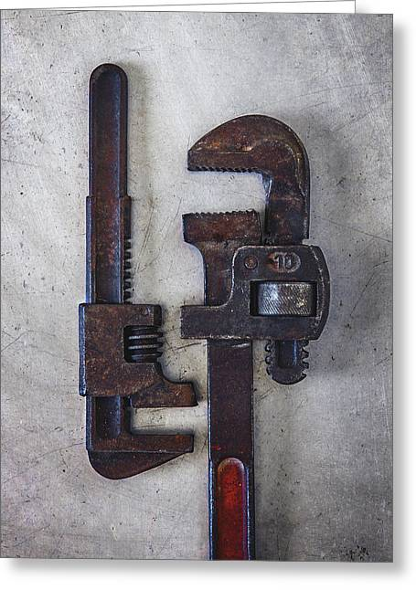 A Pair Of Rusty Wrenches Greeting Card