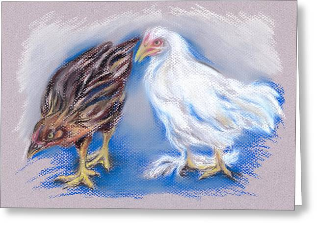 Fluffy Chickens Greeting Cards - A Pair of Young Pullets Greeting Card by MM Anderson