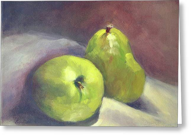 Greeting Card featuring the painting A  Pair by Vikki Bouffard