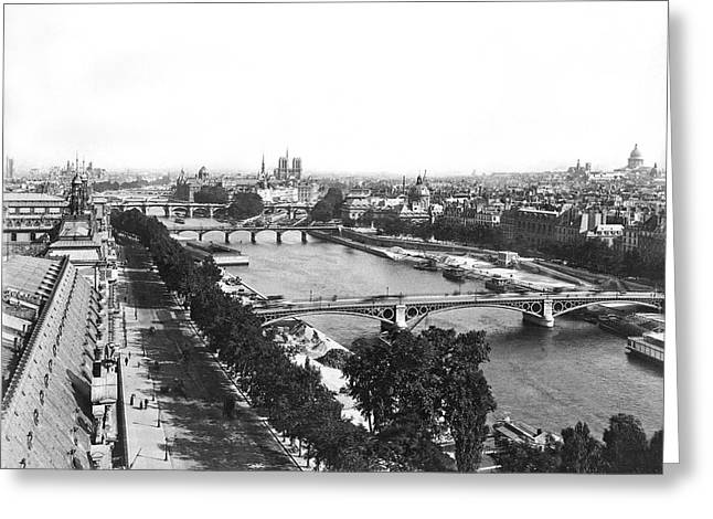 A Panoramic View Of Paris Greeting Card by Jules Hautecoeur