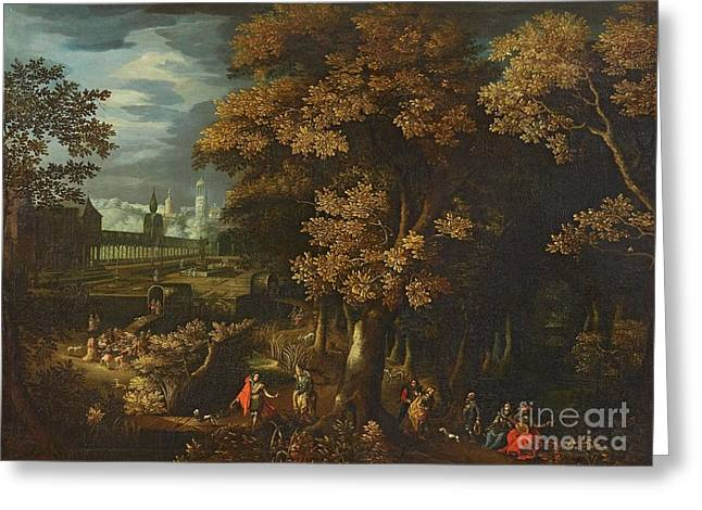 A Park Landscape With Courtly Figures Greeting Card