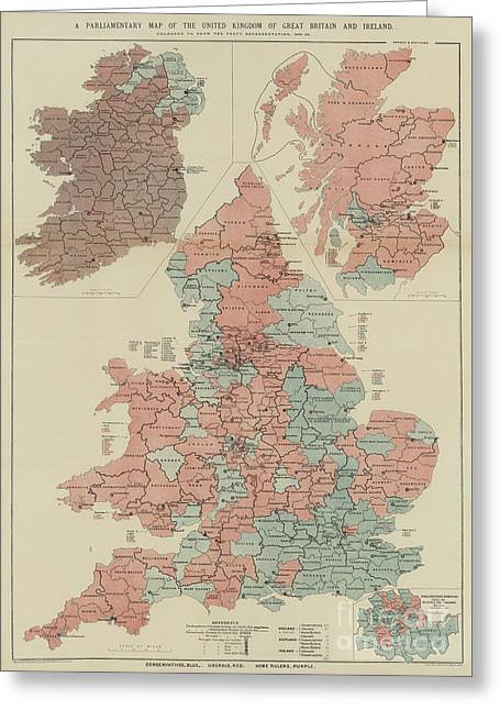 A Parliamentary Map Of The United Kingdom Of Great Britain And Ireland Greeting Card by English School
