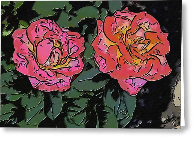 A Parrot And A Tiger Or Two Roses Greeting Card