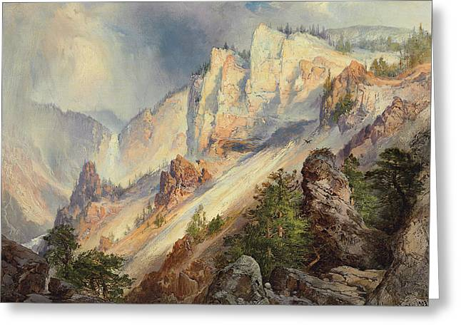 A Passing Shower In The Yellowstone Canyon Greeting Card by Thomas Moran