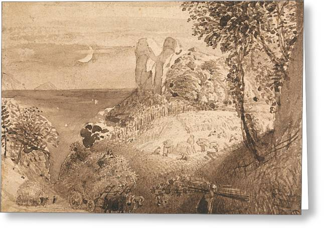 A Pastoral Scene Greeting Card by Samuel Palmer